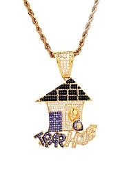 abordables -Hombre Circonita Elegante Collares con colgantes - Chapado en oro 18K, Chapado en Plata Creativo Dibujos, De moda, Hip-Hop Dorado, Plata, Oro + plata 51  61  76.2 cm Gargantillas 1pc Para Regalo
