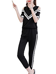 cheap -Women's Cut Out / Pocket Tracksuit - White, Black, Yellow Sports Solid Color Tee / T-shirt / 3/4 Tights Yoga, Running, Fitness Short Sleeve Activewear Breathable, Sweat-wicking Micro-elastic
