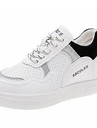 billige -Dame PU Sommer Komfort Sneakers Flade hæle Rund Tå Hvid / Sort / Gul