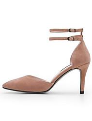 baratos -Mulheres Sapatos Camurça Primavera Conforto Saltos Salto Agulha Preto / Rosa claro