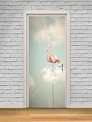 abordables -Pegatinas de puerta - Calcomanías 3D para Pared / Pegatinas de pared de animales Paisaje / Animales Habitación de bebés / Habitación de Niños