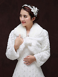 cheap -Long Sleeve Faux Fur Wedding / Birthday Women's Wrap With Pendant / Patterned Shrugs