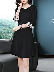 Недорогие -Жен. Тонкие Маленькое черное Платье Выше колена / Осень