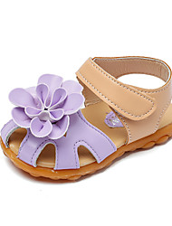 cheap -Girls' Shoes Faux Leather Summer Comfort Sandals Flower / Magic Tape for Kids / Toddler Purple / Fuchsia / Pink