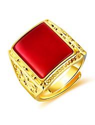 Недорогие -Муж. Кольцо Кольцо с печаткой Синтетический рубин 1шт Черный Красный Зеленый Позолота 18К Медь Геометрической формы Мода Повседневные Для вечеринок Бижутерия Стильные Креатив Cool
