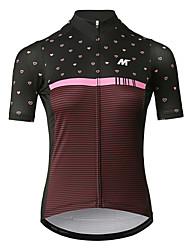 baratos -Mysenlan Mulheres Manga Curta Camisa para Ciclismo - Vermelho Vinho Moto Camisa / Roupas Para Esporte Poliéster / Zíper YKK