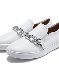 baratos -Mulheres Sapatos Confortáveis Pele Napa Primavera Tênis Salto Baixo Ponta Redonda Branco / Preto