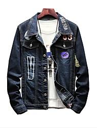 Недорогие -Муж. Большие размеры Джинсовая куртка Буквы, Хлопок / Джинса / Длинный рукав