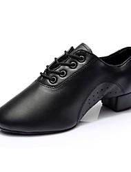 cheap -Men's Latin Shoes / Modern Shoes Faux Leather Sneaker Thick Heel Customizable Dance Shoes Black