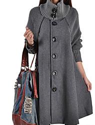 Недорогие -Жен. Пальто Классический / Уличный стиль - Однотонный