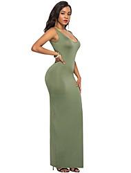 Недорогие -Жен. Большие размеры Пляж Уличный стиль Хлопок Тонкие Оболочка Платье - Однотонный Завышенная U-образный вырез Макси / Сексуальные платья