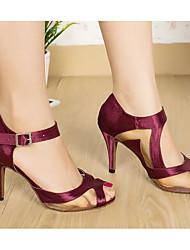 Недорогие -Жен. Обувь для латины Сатин На каблуках Тонкий высокий каблук Танцевальная обувь Лиловый