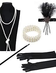 abordables -Gatsby le magnifique Rétro Années 20 Costume Femme Bandeau Garçonne Noir / Or + Noir / Noir / Blanc Vintage Cosplay Plume Plastique Déguisement d'Halloween