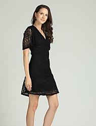cheap -Women's Basic / Street chic Sheath / Little Black Dress - Floral Lace / Cut Out / Mesh
