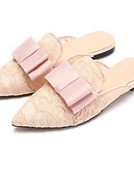baratos -Mulheres Sapatos Renda Primavera Conforto Tamancos e Mules Sem Salto Branco / Preto / Rosa claro