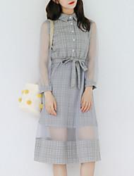 cheap -Women's Going out Slim Sheath Dress High Waist Shirt Collar