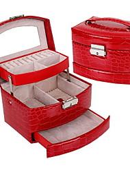 Недорогие -Место хранения организация Ювелирная коллекция Хлопок-волокно Прямоугольная форма Многослойный / Открытая крышка