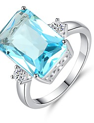 cheap -Women's Synthetic Aquamarine Cubic Zirconia Long Band Ring - Vintage, Elegant 6 / 7 / 8 / 9 / 10 Light Blue For Wedding Engagement Ceremony