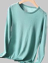 baratos -pullover solto de lã de manga comprida para mulher - decote redondo em cor sólida