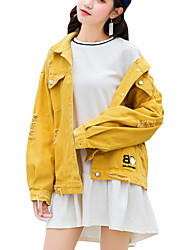 Недорогие -Жен. Повседневные Уличный стиль Обычная Джинсовая куртка, Однотонный Рубашечный воротник Длинный рукав Полиэстер Розовый / Бежевый / Желтый Один размер