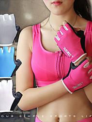 billiga -Träningshandskar / Tyngdlyftande handskar för Bergsklättring / Fitness / Tyngdlyftning Dämpning / anti slip / Slitsäker Silikon / Lycra® 1set Fuchsia / Blå / Grå