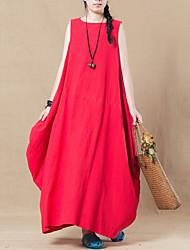 baratos -linho das mulheres um vestido de linha maxi