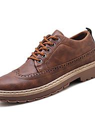Недорогие -Муж. Печать Оксфорд Искусственная кожа Наступила зима Винтаж / Английский Туфли на шнуровке Черный / Коричневый