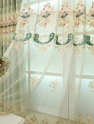 お買い得  -シアー シアーカーテンシェード 2パネル 2*(W140cm×L259cm) ライトグリーン / 刺繍 / ベッドルーム