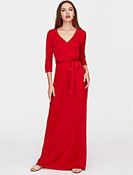 baratos -Mulheres Moda de Rua Delgado Reto Vestido Sólido Decote em V Profundo Longo