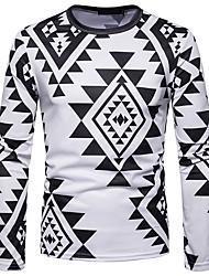 Недорогие -Муж. С принтом Футболка Винтаж / Богемный Геометрический принт Черное и белое