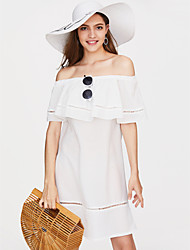 cheap -Women's Loose Shift Dress - Solid Colored Boat Neck / Summer / Ruffle