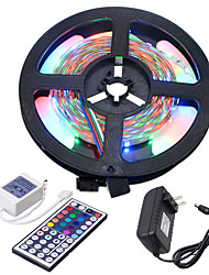 cheap -HKV 5m Flexible LED Light Strips / Light Sets 300 LEDs 3528 SMD 1 44Keys Remote Controller / 1 x 2A power adapter RGB Cuttable / Linkable / Self-adhesive 100-240 V