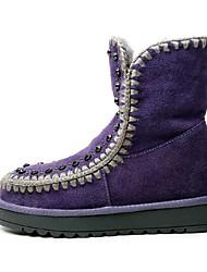 baratos -Mulheres Sapatos Camurça Outono & inverno Conforto Botas Sem Salto Dedo Fechado Botas Cano Médio Preto / Roxo