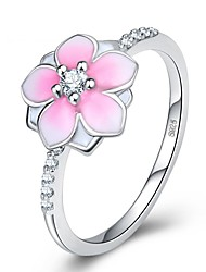 cheap -Women's Cubic Zirconia 3D Band Ring Ring - Copper Flower Ethnic 5 / 6 / 7 / 8 / 9 Pink For Gift