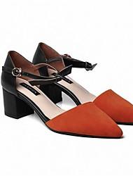 povoljno -Žene Cipele Brušena koža Proljeće Obične salonke Cipele na petu Kockasta potpetica Crn / žuta / Sive boje