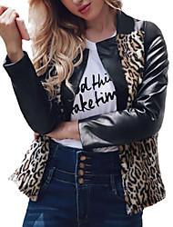 Недорогие -Жен. Кожаные куртки Уличный стиль / Изысканный - Контрастных цветов С принтом