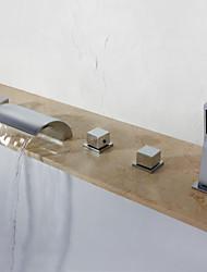 economico -Rubinetto vasca - Moderno Cromo A 3 fori Valvola in ottone
