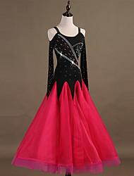 baratos -Dança de Salão Vestidos Mulheres Treino Fibra Sintética / Organza / Tule Apliques / Cristal / Strass Manga Longa Alto Vestido