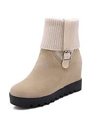Недорогие -Жен. Fashion Boots Полиуретан Наступила зима Ботинки На плоской подошве Круглый носок Сапоги до середины икры Черный / Бежевый / Коричневый