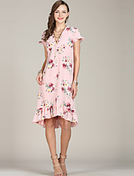 420d60196ce8 Women s Plus Size Daily Going out Dress - Floral Print V Neck Spring Pink  XL XXL XXXL