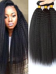 Недорогие -3 Связки Перуанские волосы Вытянутые Натуральные волосы Необработанные натуральные волосы Человека ткет Волосы Уход за волосами Пучок волос 8-28 дюймовый Естественный цвет Ткет человеческих волос