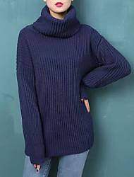 Недорогие -Жен. Кроличий мех Длинный рукав Свободный силуэт Пуловер - Однотонный Хомут