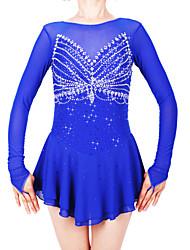 cheap -Figure Skating Dress Women's / Girls' Ice Skating Dress Royal Blue Spandex High Elasticity Professional Skating Wear Fashion Long Sleeve Ice Skating / Winter Sports / Figure Skating