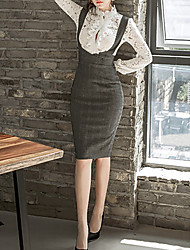 cheap -Women's Basic Cotton Slim Bodycon Dress Lace / Cut Out / Patchwork Stand / Fall