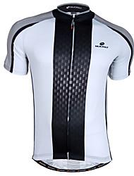 Недорогие -Nuckily Муж. С короткими рукавами Велокофты - Черный / Белый Велоспорт Джерси Верхняя часть, Дышащий Быстровысыхающий 100% полиэстер / Продвинутый уровень / SBS молнии