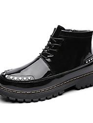 Недорогие -Муж. Армейские ботинки Лакированная кожа Зима На каждый день Ботинки Доказательство износа Сапоги до середины икры Черный / Вино