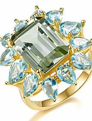 billiga -Dam Klassisk 3D Bandring Förlovningsring - Koppar, Bergkristall, Guldpläterad Blomma Enkel, Klassisk 7 / 8 Guld Till Party Dagligen / Glas