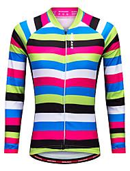 Недорогие -WOSAWE Жен. Длинный рукав Велокофты - Черный / зеленый Горизонтальные полосы Велоспорт Джерси Верхняя часть, Быстровысыхающий Полиэстер / Эластичная / Продвинутый уровень
