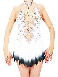 cheap -Figure Skating Dress Women's / Girls' Ice Skating Dress White Spandex High Elasticity Professional Skating Wear Fashion Long Sleeve Ice Skating / Winter Sports / Figure Skating