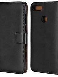 abordables -Coque Pour Huawei Y9 (2018)(Enjoy 8 Plus) / Y6 (2018) Portefeuille / Porte Carte / Avec Support Coque Intégrale Couleur Pleine Dur Cuir véritable pour Mate 10 / Mate 10 lite / Y9 (2018)(Enjoy 8 Plus)